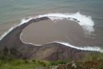 Neue Lagune nach Erdrutsch vor Corvo